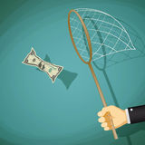 Man catches with net a dollar bill. Stock illustration. Royalty Free Stock Photo