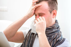 Man catching cold Stock Photography