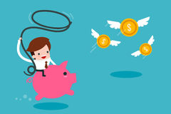 Man Catching Flying Money. Man Catching Flying Money, trendy cartoon Vector Stock Photo