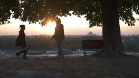 Man catching a girl in the sunlight stock footage