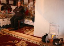 Man and cats. NOVA VOLIA, UKRAINE - 14 November 2008: Unknown senior man sits near bed with embroidered pillows and cats in rural parlor Stock Images