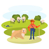 Man cattleman with Shepherd dog. Young man cattleman with his Shepherd dog graze sheep in pasture. Flat Cartoon Character of pet and his owner. Colorful Vector Royalty Free Stock Photography