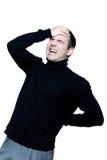 Man caucasian backache pain Stock Photos
