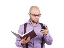 Man caucasian professor reading book Royalty Free Stock Photos