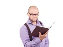 Man caucasian professor reading book Stock Image
