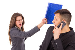 Man caught in a lie and woman screaming Stock Photography