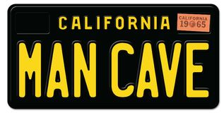 Man Cave License Plate. California Retro Black Metal Embossed 1965 old vintage royalty free illustration