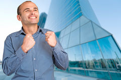 Man celebrating business success Stock Image