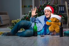The man celebrating christmas at home alone Stock Image