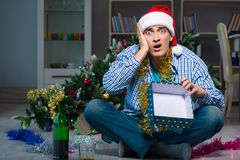 The man celebrating christmas at home alone Royalty Free Stock Photo