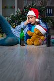 The man celebrating christmas at home alone Stock Photos