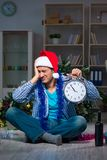 The man celebrating christmas at home alone Royalty Free Stock Image