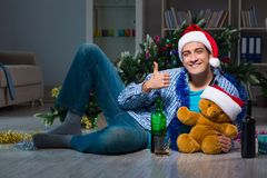 The man celebrating christmas at home alone Royalty Free Stock Photos