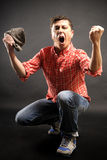 Man celebrating a gol Stock Images