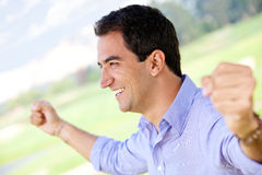Man celebrating his victory Royalty Free Stock Photo