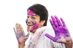 Man celebrating Holi Stock Photography