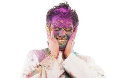 Man celebrating Holi Royalty Free Stock Image