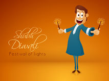Man celebrating Indian Festival, Happy Diwali. Illustration of a man with firecrackers, celebrating and enjoying on occasion of Indian Festival of Lights, Happy Royalty Free Stock Photo