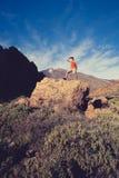 Man celebrating inspiring mountains view Royalty Free Stock Photos