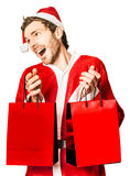 Man celebrating the joy of giving at Christmas Royalty Free Stock Photos