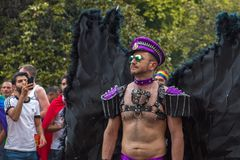 Madrid, Spain - 07 July 2019 - Gay Pride, Orgullo Gay Parade Black Wings stock photos