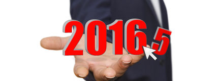 Man celebrating the new year 2016. Man holding 2016 dices for the new year Stock Images