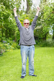 Man celebrating retirement Royalty Free Stock Images
