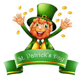 A man celebrating St. Patrick's Day with coins Royalty Free Stock Photo