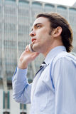 Man on cell Royalty Free Stock Images