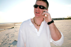 Man on Cell Phone Stock Images