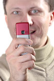 Man with cell phone Royalty Free Stock Image