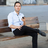 Man with cell phone Royalty Free Stock Photo