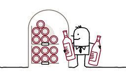 Man in cellar & bottles of wine. Hand drawn cartoon characters Stock Photos