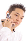 Man on cellphone upclose Royalty Free Stock Photography