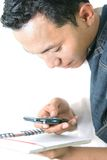 Man and cellular phone stock image