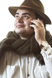 Man with cellular telephone Stock Images