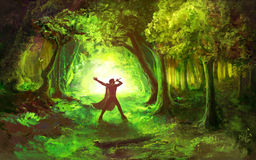 Man in Celtic Forest Stock Images