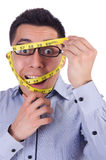 Man with centimeter Royalty Free Stock Photography