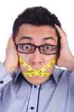 Man with centimeter Stock Image