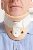 Man in cervical collar Royalty Free Stock Images