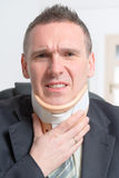 Man in cervical collar Royalty Free Stock Photo