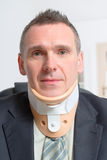 Man in cervical collar Royalty Free Stock Image