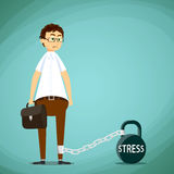 Man with a chain on his leg. Metal kettlebell with stress inscri Royalty Free Stock Photos