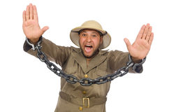 Man with chain isolated on white Stock Photo