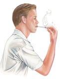 Man Chain Smoking Royalty Free Stock Photography