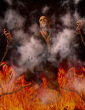 Man Chained in Hell. High-resolution illustration Man Chained in hell surrounded by smoke filled with skulls Stock Photo