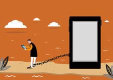 A Man is Chained with a Tablet. Editable Clip Art. Stock Photo