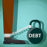 Man chained to kettlebell with the word debt. Stock Vector carto Royalty Free Stock Image