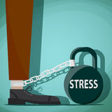 Man chained to kettlebell with the word stress. Stock Vector car Royalty Free Stock Image