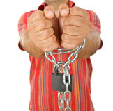 Man in chains - closeup, focus on hands Stock Images
